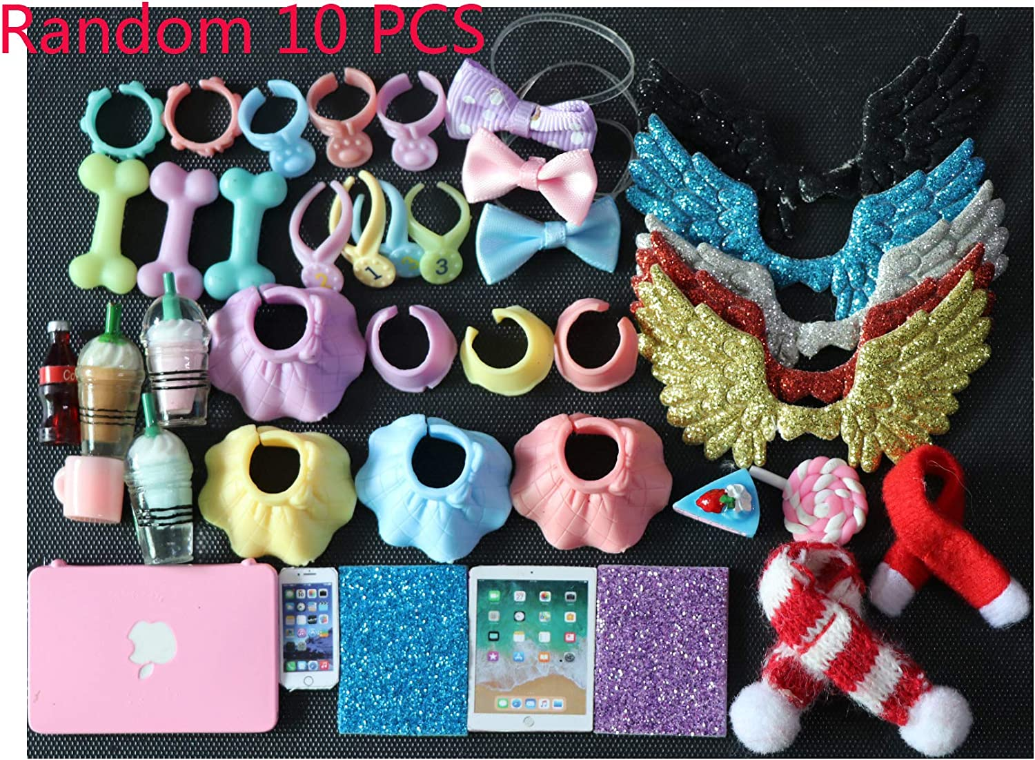 LPS Accessories Lot (Random 10 PCS Clothes Skirts Collars Food and Drink Wings Bow Scarf Phone Laptop Fit LPS Cat and Dog Collie Dachshund Cocker Spaniel Shorthair Cat