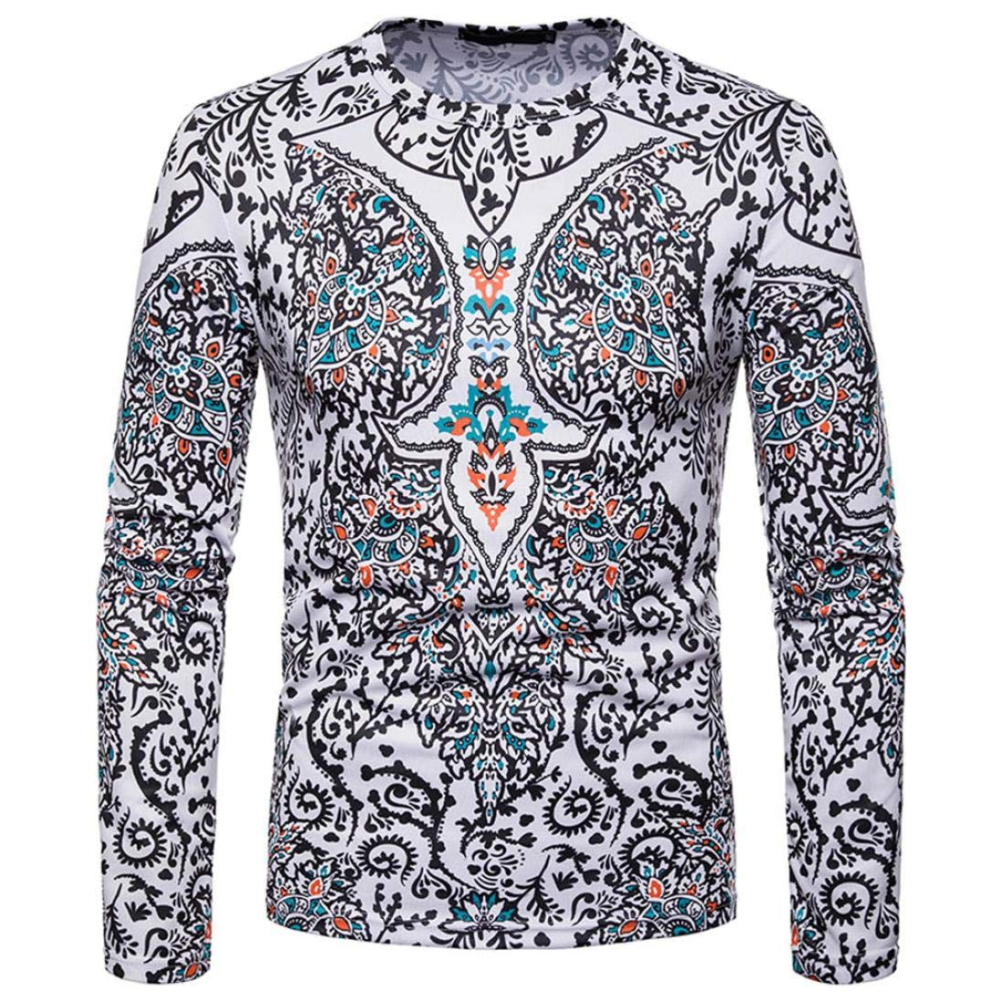 kaifongfu Men Shirt,African 30D Print Mens Long Sleeve Dashiki O-Neck Sweatshirt TopWhite2XL by kaifongfu-mens clothes