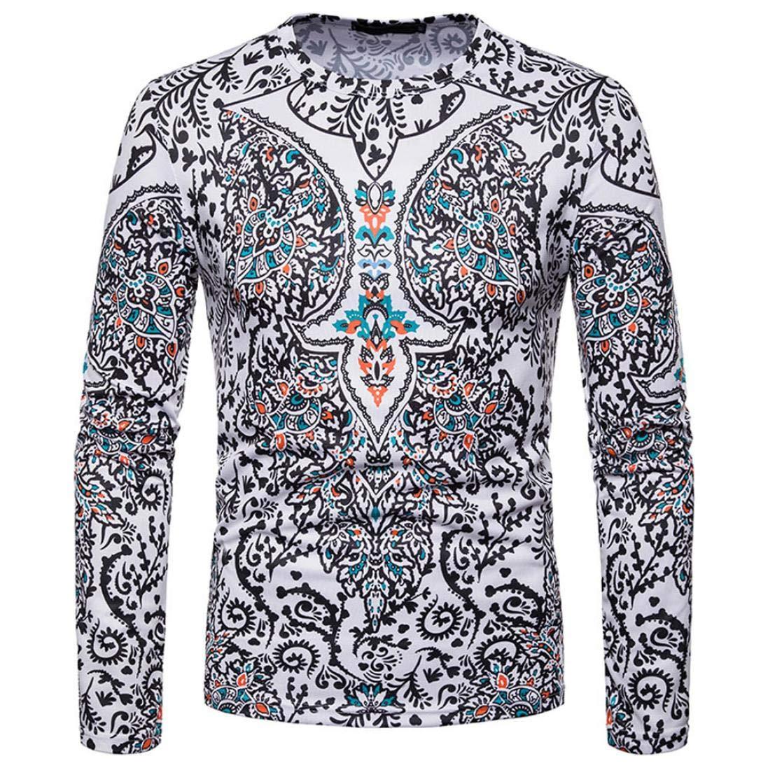 kaifongfu Men Shirt,African 32D Print Mens Long Sleeve Dashiki O-Neck Sweatshirt TopWhiteS by kaifongfu-mens clothes