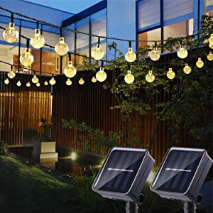 Solar String Lights Outdoor, 2 Pack 21.3ft 30 LED Crystal Balls Waterproof Globe Solar Powered Fairy String Lights for Christmas Garden Yard Home Patio Wedding Party Holiday Decoration