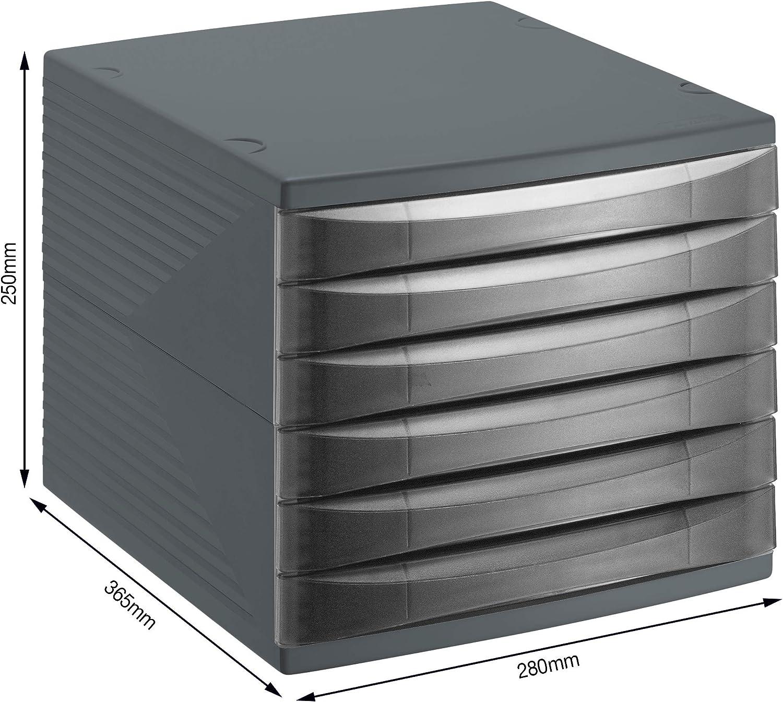 Rotho Quadra, Cajón, caja de oficina con 6 cajones, Plástico PS sin BPA, negro, 36.5 x 28.0 x 25.0 cm: Amazon.es: Hogar
