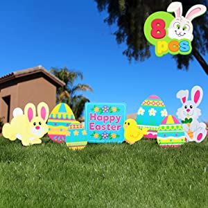 JOYIN 8 Pieces Easter Yard Signs Decorations Outdoor Bunny, Chick and Eggs Yard Stake Signs Easter Lawn Yard Decorations for Easter Hunt Game, Party Supplies DÈcor, Easter Props.