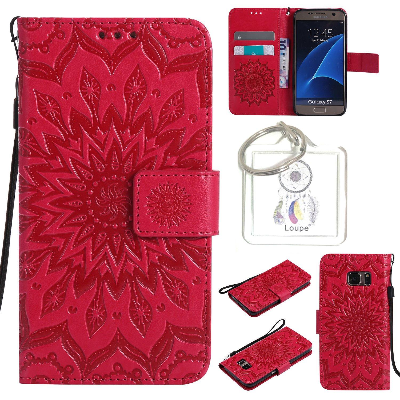 für Galaxy S7 Hülle,Geprägte Muster Handy hülle / Tasche / Cover / Case für das Samsung Galaxy S7 PU Leder Flip Cover Leder Hülle Kunstleder Folio Schutzhülle Wallet Tasche Etui Standfunktion Kredit Kartenfächer+Schl