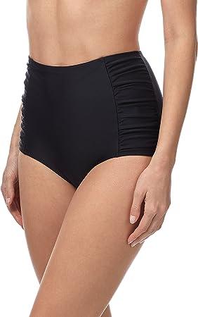 Calzones bikini; Alta cintura; Con detalle drapeado en los laterales; Con una cinta elástica suave c