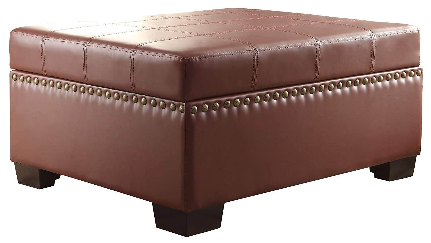 Amazon.com: Homelegance 4740BG Lift Top Storage Ottoman, Burgundy: Kitchen  U0026 Dining