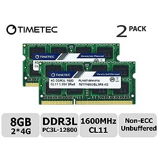 Timetec Hynix IC 8GB Kit(2x4GB) DDR3L 1600MHz PC3L-12800 Non ECC Unbuffered 1.35V CL11 2Rx8 Dual Rank 204 Pin SODIMM Laptop Notebook Computer Memory Ram Module Upgrade(8GB Kit(2x4GB)
