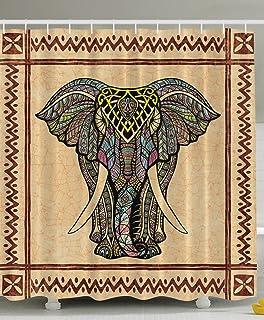 elephant shower curtain decor ethnic tribal chevron frame marble look paisley hippie hippy boho bohemian celestial