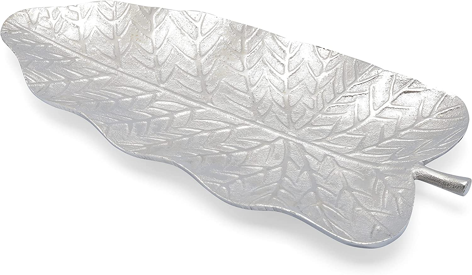 Cheer Collection Decorative Silver Leaf Shape Serving Tray - Large Nickel Plated Candy Dish (13.25