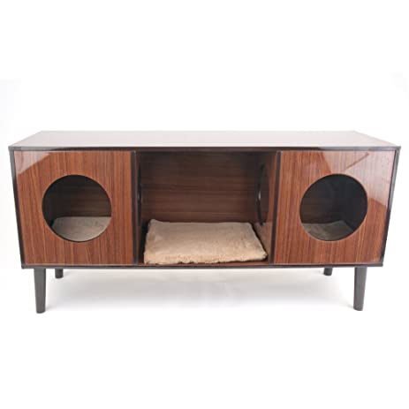 Penn Plax Cat Bed Hideaway With TV Stand, Modern Design Hardwood Laminate