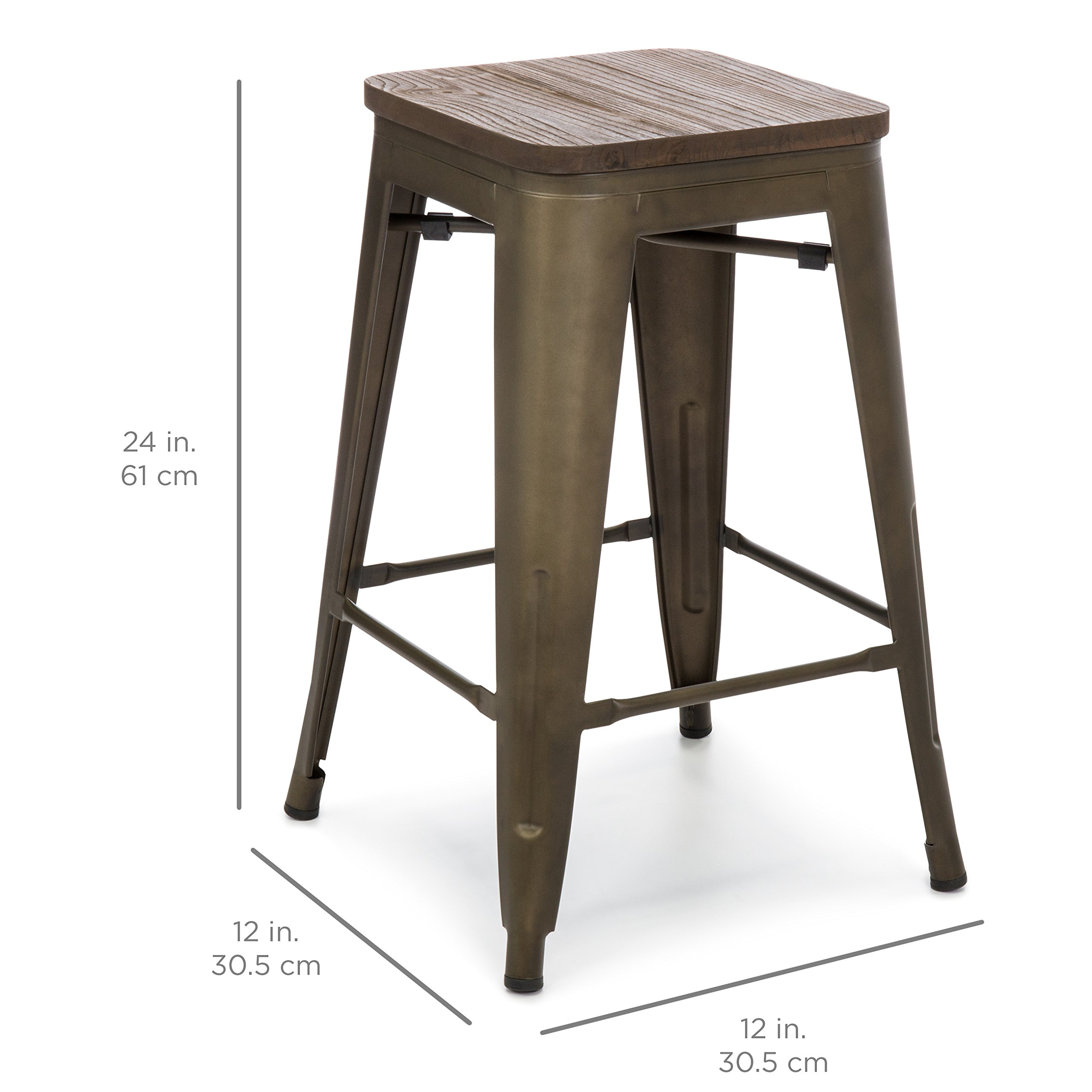 Best Choice Products 24in Set of 4 Stackable Industrial Distressed Metal Counter Height Bar Stools w/Wood Seat - Copper by Best Choice Products (Image #5)