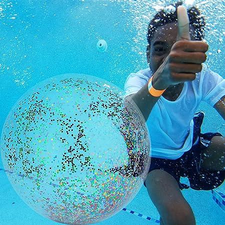 SAVITA Pelota de Playa de 3 Piezas con Colorido Glitter Confetti ...