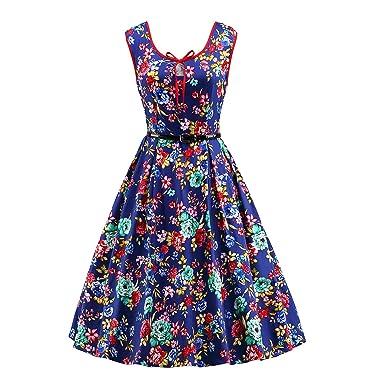 iLover Frauen 40s 50s 60s Weinlese Hepburn Art-Kleid-Schwingen ...