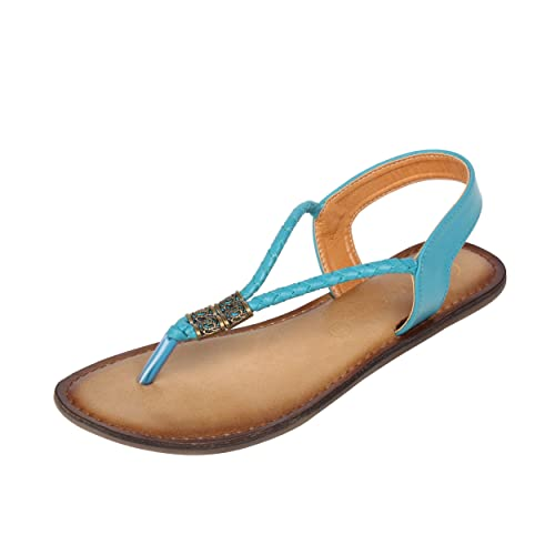69daa01196ca Catwalk Women s Blue Leather Flat Sandals - 5  Buy Online at Low ...