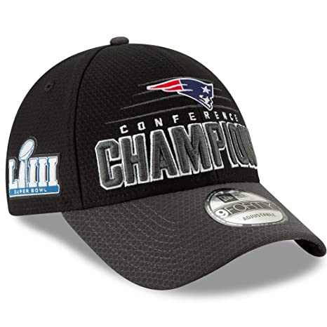 5e6c43019 Amazon.com   New Era New England Patriots 2018 AFC Champions Trophy  Collection Locker Room 9FORTY Adjustable Hat - Black Graphite.   Sports    Outdoors