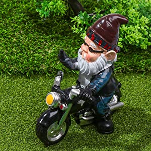 OKDEALS Garden Gnomes Statues | Naughty Gnomes | Funny Gnomes Garden Decorations for Outside Garden - Garden Knomes Biker