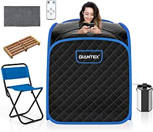 Giantex Steam Sauna Portable Therapeutic Sauna 3L Blast-Proof Remote Control W/9 Adjustable Temperature & Timer,Massage Roller,Mat,Chair & Herbal Box for Weight Loss Stress Fatigue(Black)