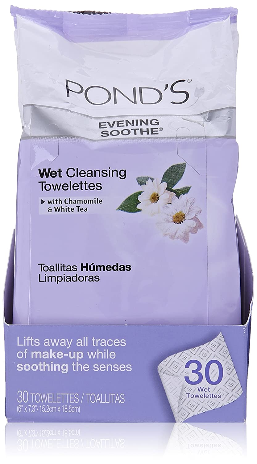 Pond's Wet Cleansing Towelettes Evening Soothe with Chamomile & White Tea 30-Count Ponds
