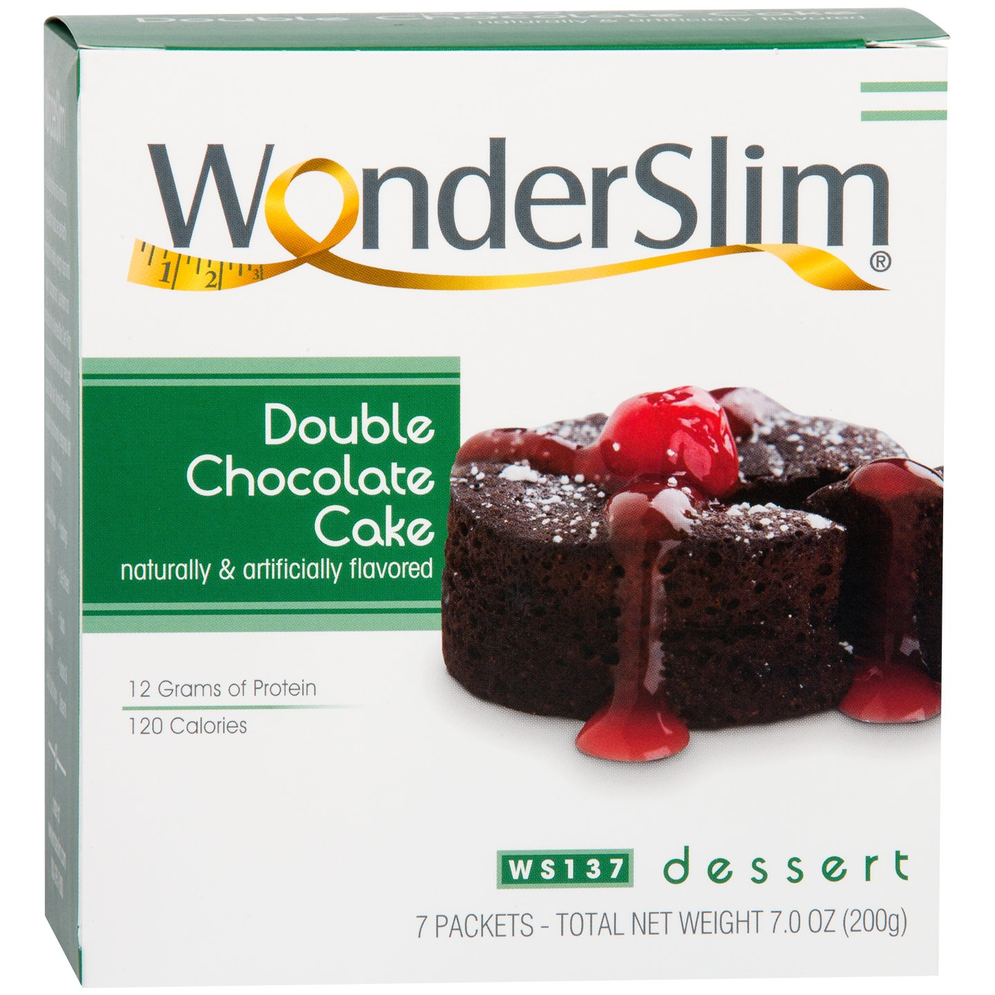 WonderSlim Low-Carb High Protein Dessert/Double Chocolate Cake Mix (7 Servings/Box) - Low Carb, Trans Fat Free