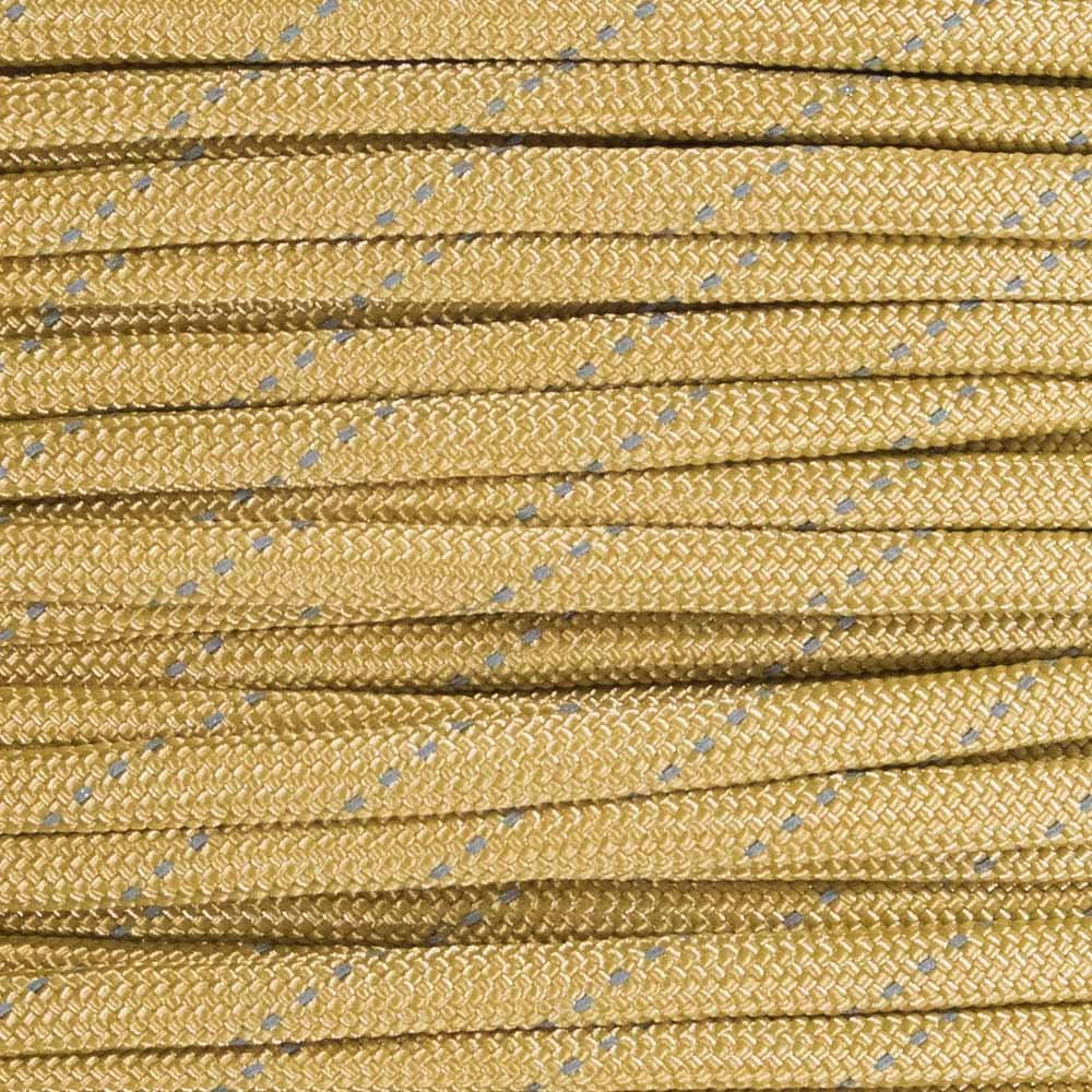 Reflective Type III 550 Paracord - Gold - 10 Ft Hank - 7 Strand Core - 100% Nylon, Parachute Cord, Commercial Paracord, Survival Cord