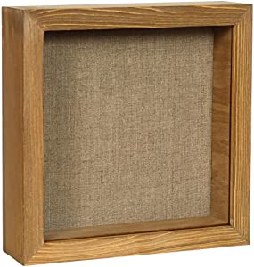 Shadow Box Picture Frame 8x8 Natural Wood Display Case with Linen Back for Memorabilia, Pins, Awards, Medals, Tickets and Photos - Walnut