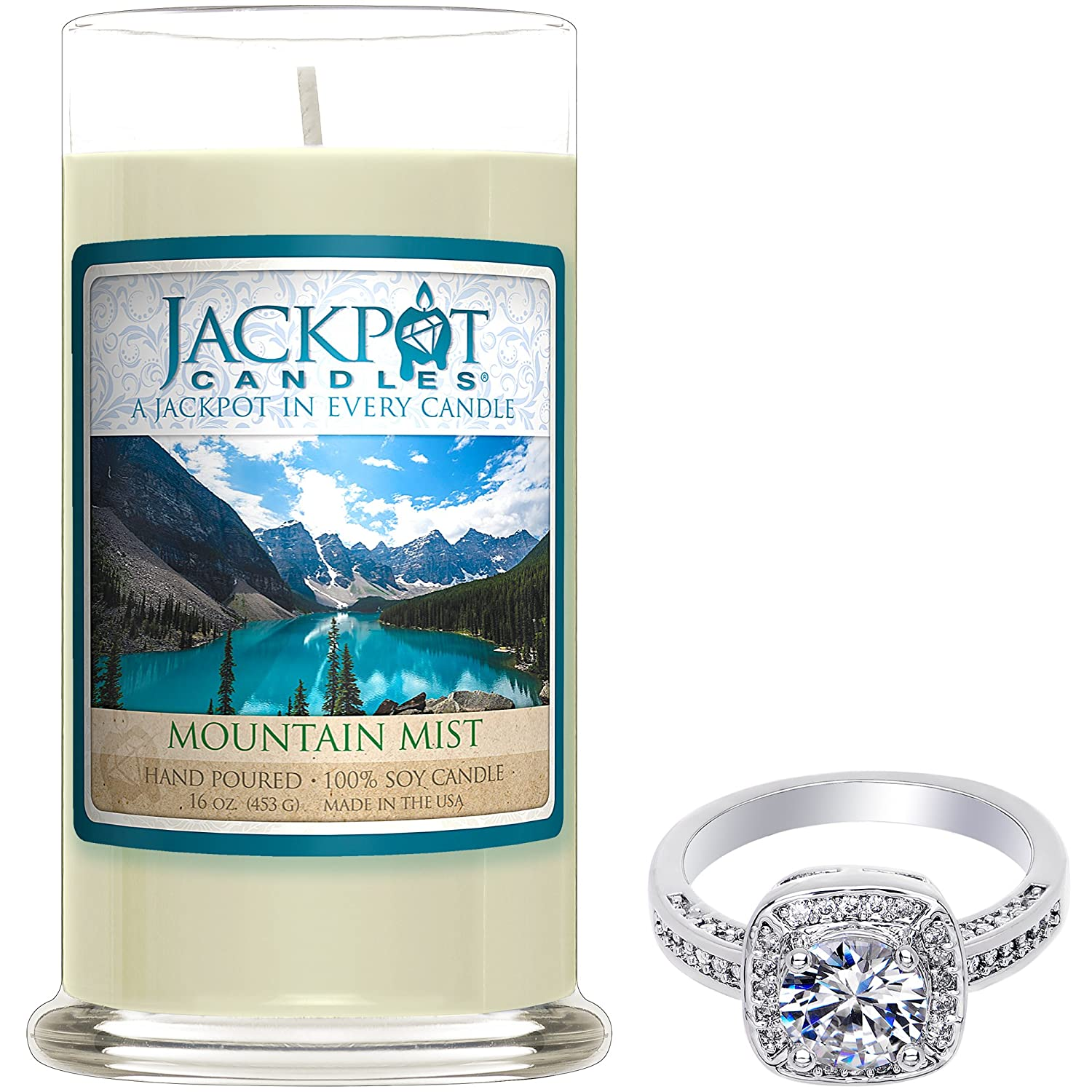 Mountain Mist Candle with Ring Inside (Surprise Jewelry Valued at $15 to $5, 000) Ring Size 6 Jackpot Candles FBA_CAN-420-RNG-6
