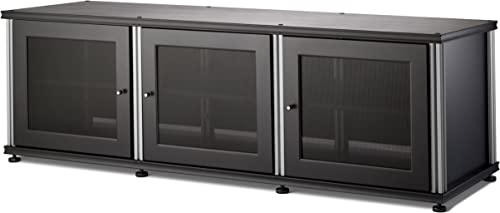 Salamander Synergy 237 A V Cabinet w Three Doors Black Silver