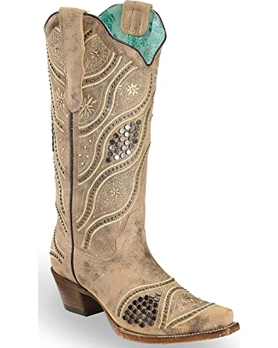40b220caa11 CORRAL Women's Embroidered Studded Bridal Cowgirl Boot Snip Toe - E1275