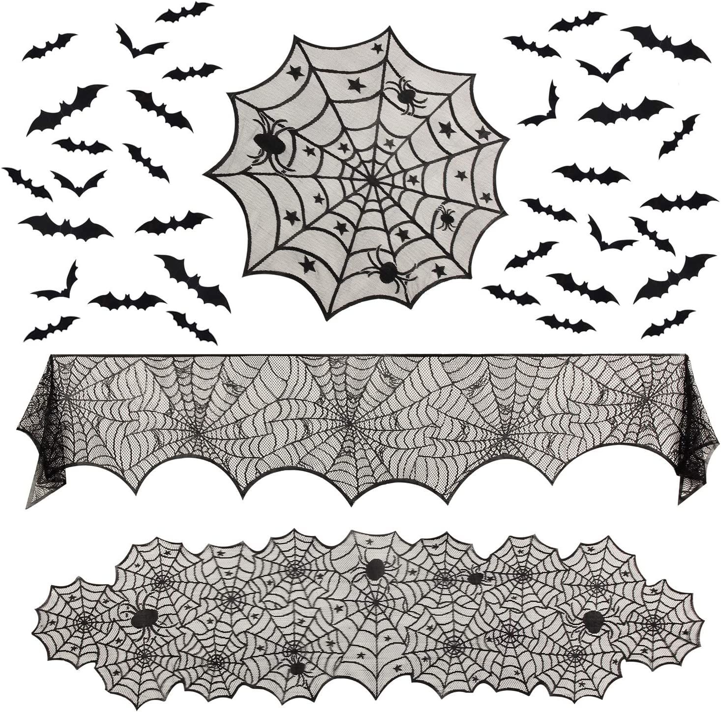 Tanlee 39 Pieces Halloween Lace Decorations include Spider Web Lace Table Runner,Round Lace Table Cover,Fireplace Mantel Scarf and 36 Pieces 3D Bats Wall Sticker Decal