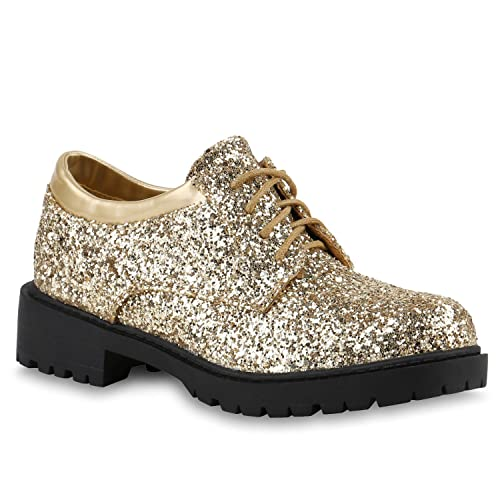 46d01ba4a5b37f Damen Brogues Lack Halb Metallic Schnürer Dandy Style Schuhe 140196 Gold  Glitzer 36 Flandell