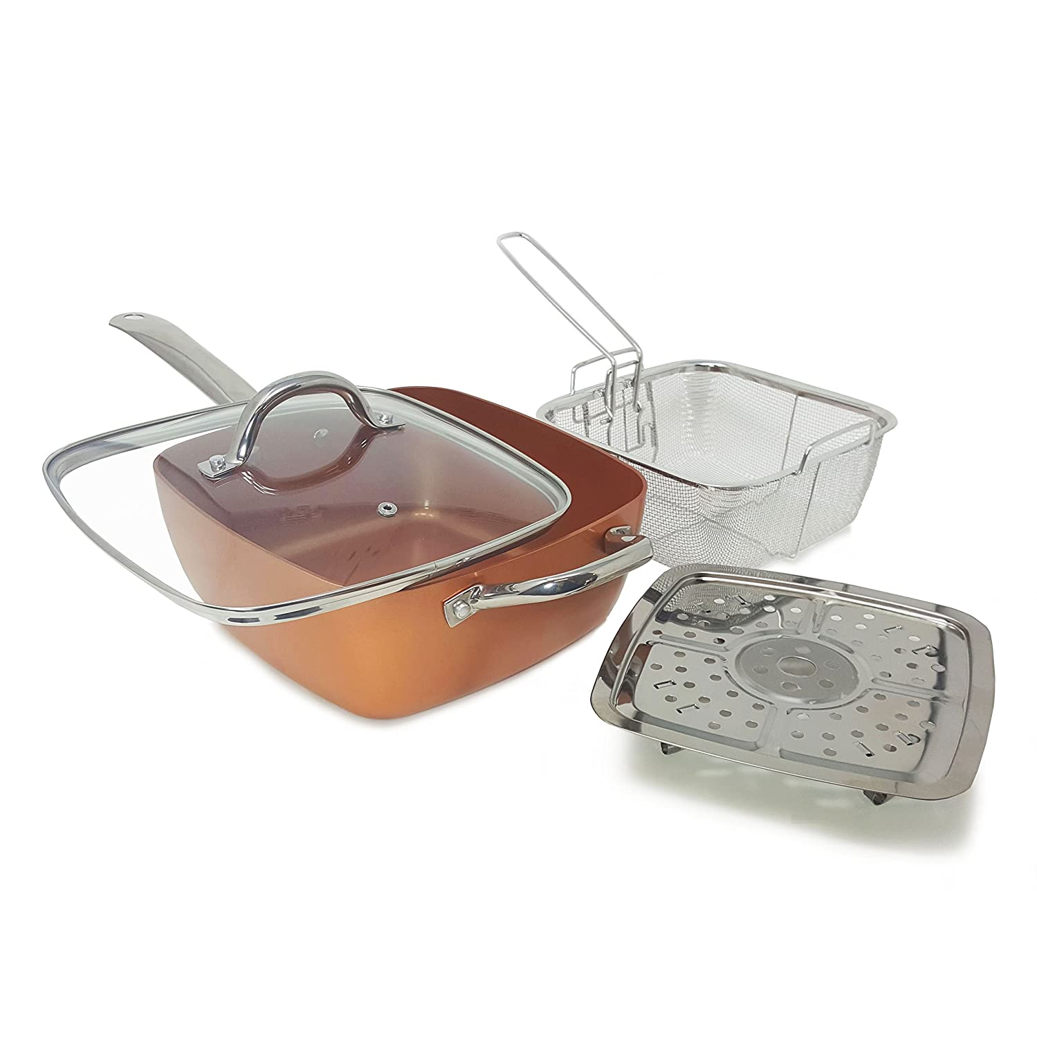1 Award Winning Copper Ceramic Square Non-Stick Ceramic Pan 4 Piece Set for Frying, Baking, Broiling, Steaming Braising with Fry Basket Steamer Tempered Glass Lid – As Seen On Tv