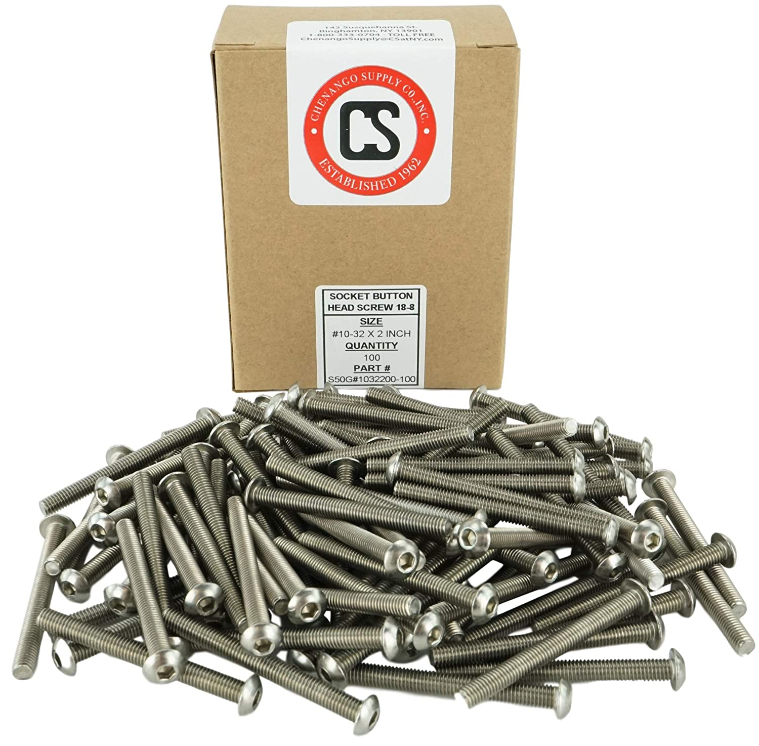 Hex Drive Stainless #10-32 x 2 Socket Button Head Cap Screws Stainless Steel 18-8 Full Thread Machine Thread 1//2 to 2 Available 10-32 x 2