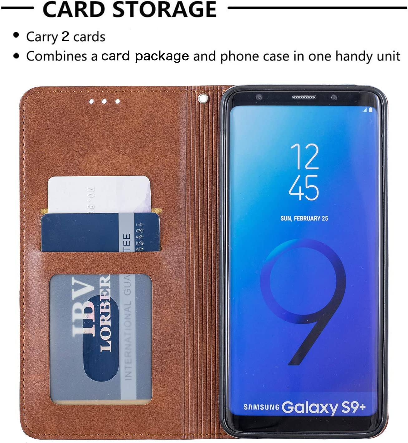- LOBFE160117 Brown Lomogo Samsung Galaxy S9+ // G965 Case Leather Wallet Case with Kickstand Card Holder Shockproof Flip Case Cover for Samsung Galaxy S9+ S9 Plus S9Plus