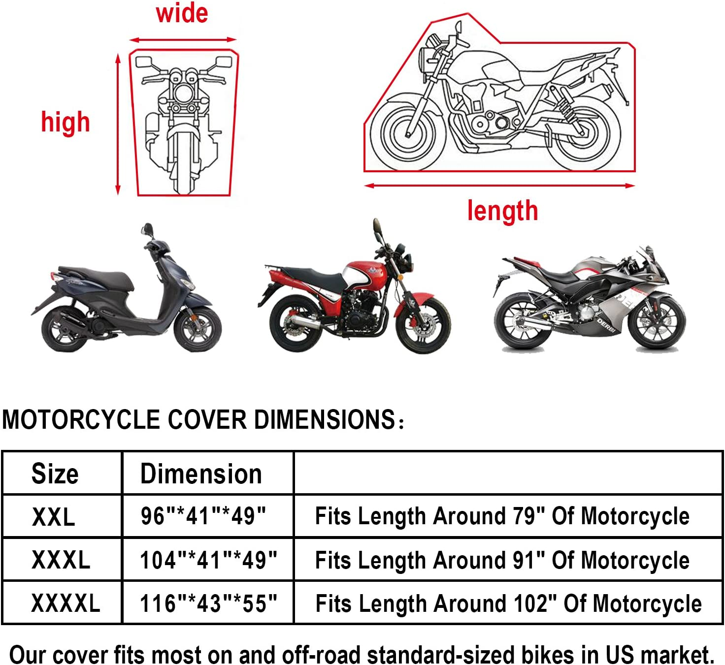 Precision Fit for Tour Bikes XXXL-104x41x49, Black Eleloveph Protect Against Dust,Rain,Snow and Sun All Season Waterproof Outdoor Protection Motorcycle Cover Choppers and Cruisers XXXL-104x41x49 4333030675 Snow and Sun