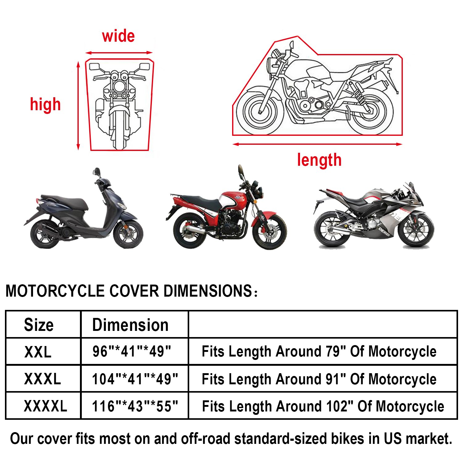 Eleloveph Motorcycle Cover - All Season Waterproof Outdoor Protection - Precision Fit for Tour Bikes, Choppers and Cruisers Protect Against Dust,Rain,Snow and Sun (XXXXL-116''x43''x55'', Black&Sliver) by Eleloveph (Image #7)