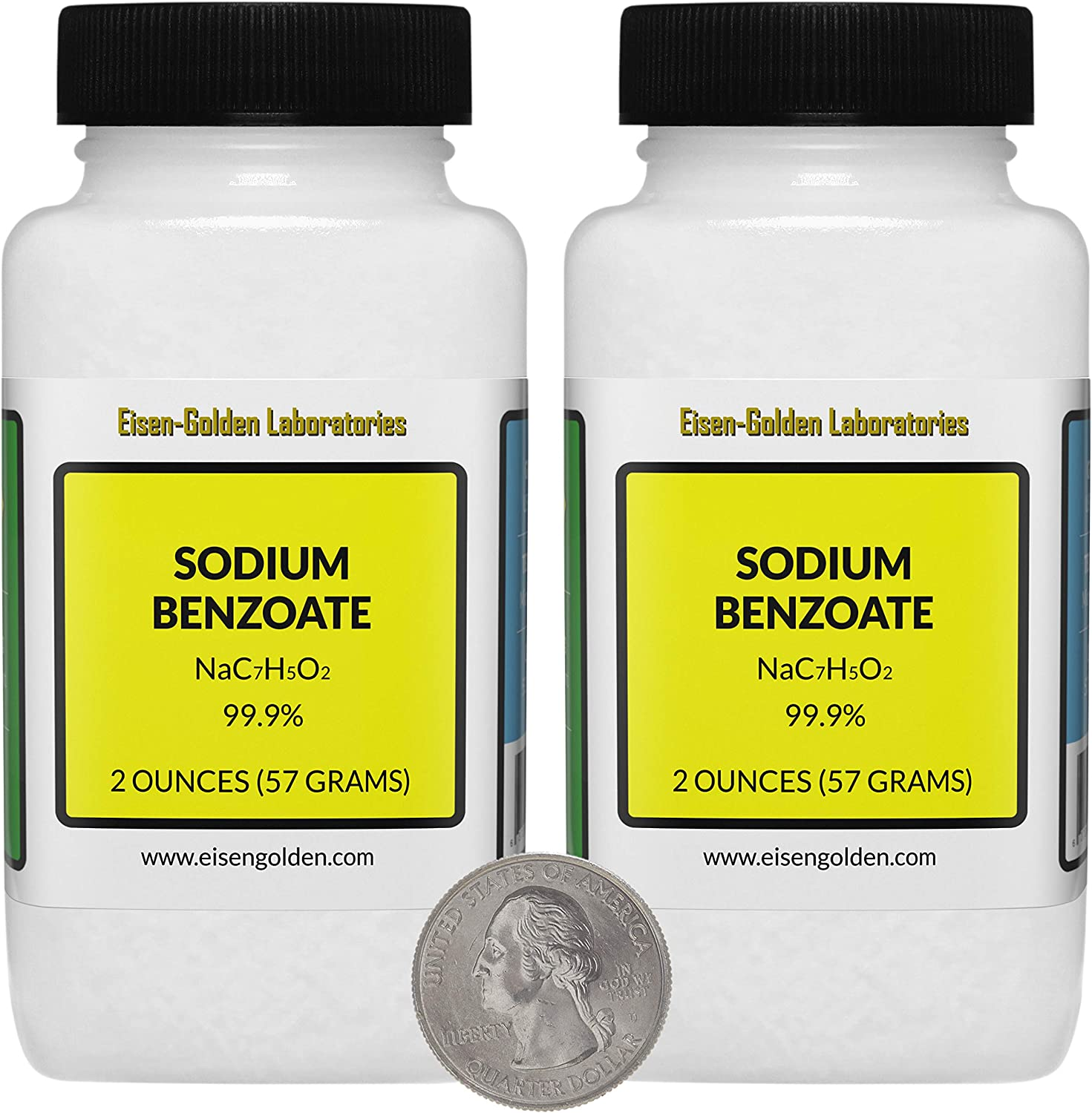 Sodium Benzoate [NaC7H5O2] 99.9% USP Food Grade Micropellets 4 Oz in Two Bottles USA