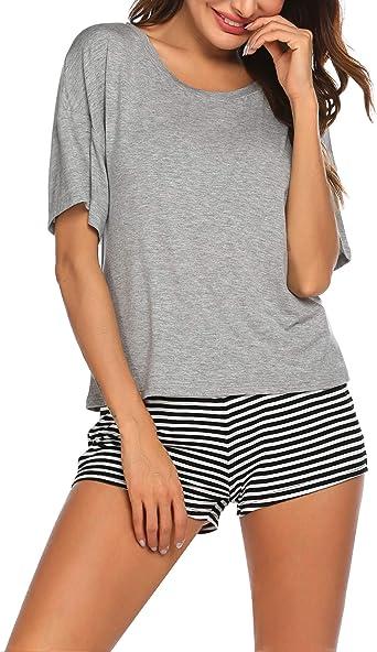 Balancora Conjunto de pijama corto de verano para mujer, de manga corta, cuello redondo, dos piezas, tallas S-XXL