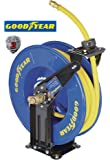 Goodyear Steel Retractable Air Compressor/Water Hose Reel with 1/2 in. x 50 ft. Rubber Hose, Max. 300PSI