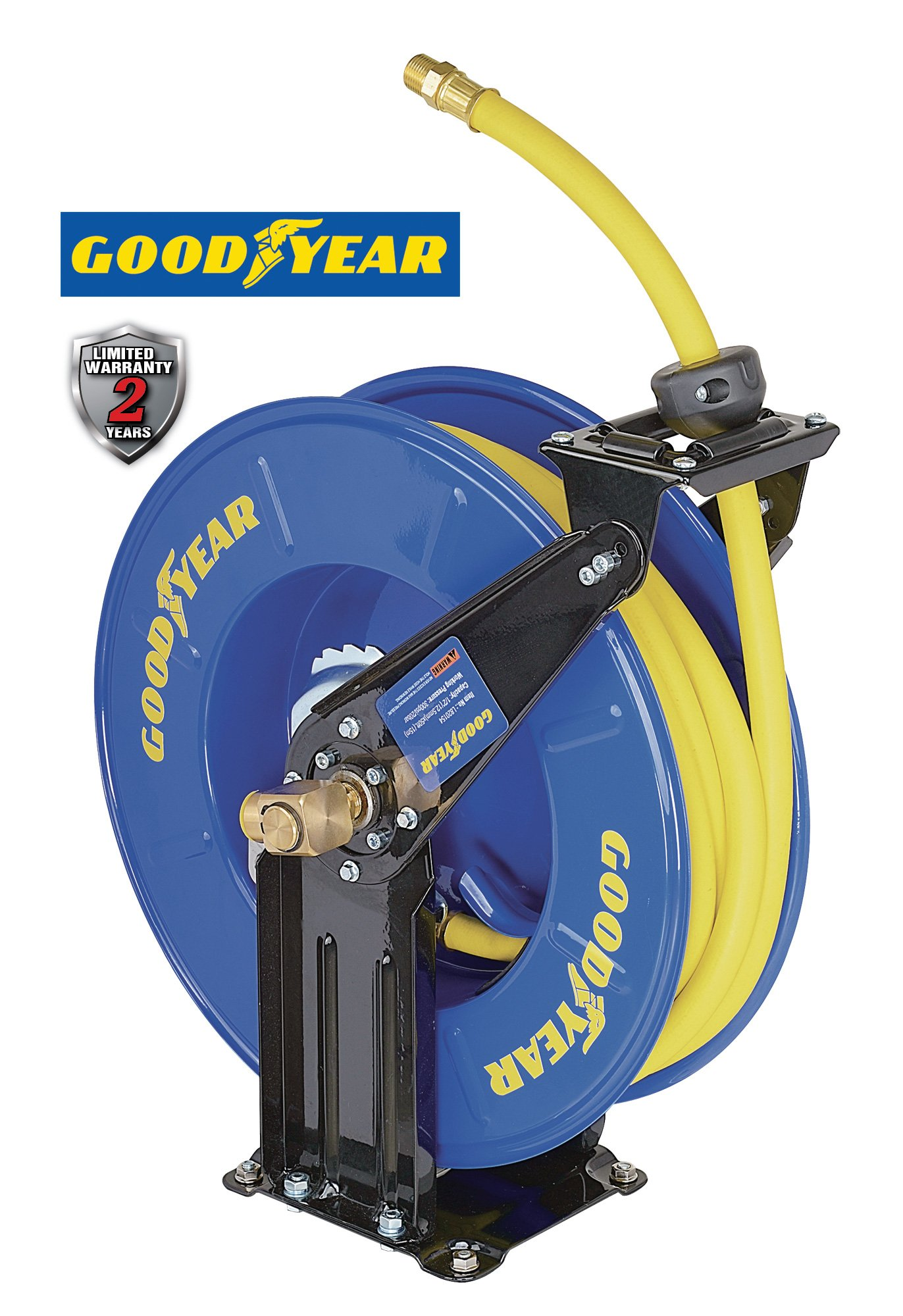 Goodyear Steel Retractable Air Compressor/Water Hose Reel with 1/2 in. x 50 ft. Rubber Hose, Max. 300PSI by Goodyear