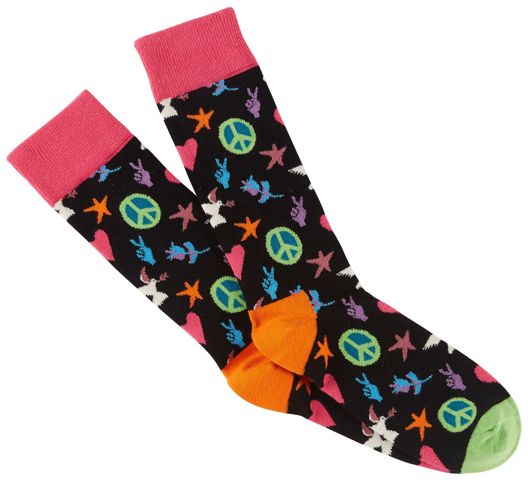 Happy Socks Unisex Peace and Love Combed Cotton Crew Socks (10-13, Black/Pink)