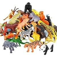 Animals Figure,54 Piece Mini Jungle Animals Toys Set,Valefortoy Realistic Wild Vinyl Pastic Animal Learning Party Favors…