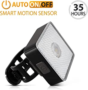 BrightRoad Auto On/Off Bike Light Set, Front 80 & Back 40 Lumens Bicycle Lights, IPX6 Waterproof LED Headlight & Tail Light, Rechargeable Flashlights, with Built-in Reflectors