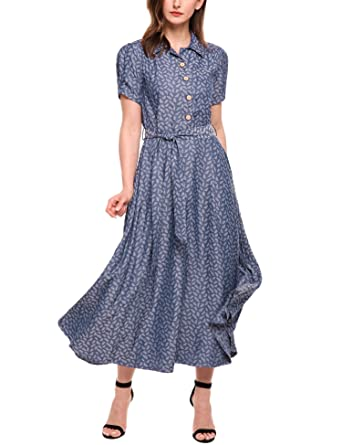 bb2c8917 ACEVOG Women Vintage Style Turn Down Collar Puff Sleeve High Waist Maxi  Swing Dress with Belt