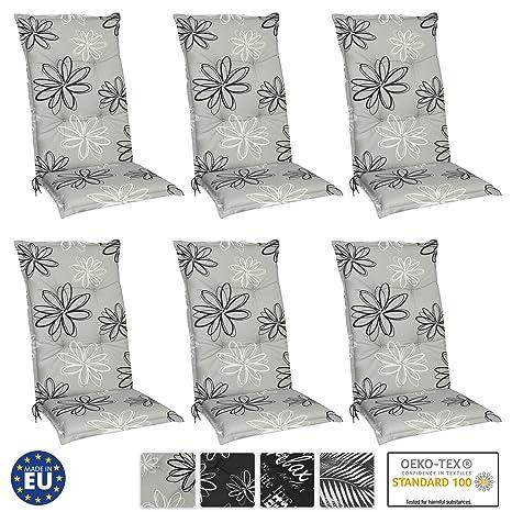 Beautissu Set de 6 Cojines para sillas de Exterior y jardín con Respaldo Alto Floral 120x50x6 cm tumbonas, mecedoras, Asientos cómodo Acolchado ...