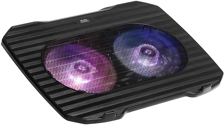 Mars Gaming MNBC0, Base Refrigerador Portátil 15.6 pulgadas, 2 Ventiladores RGB, USB, Negro