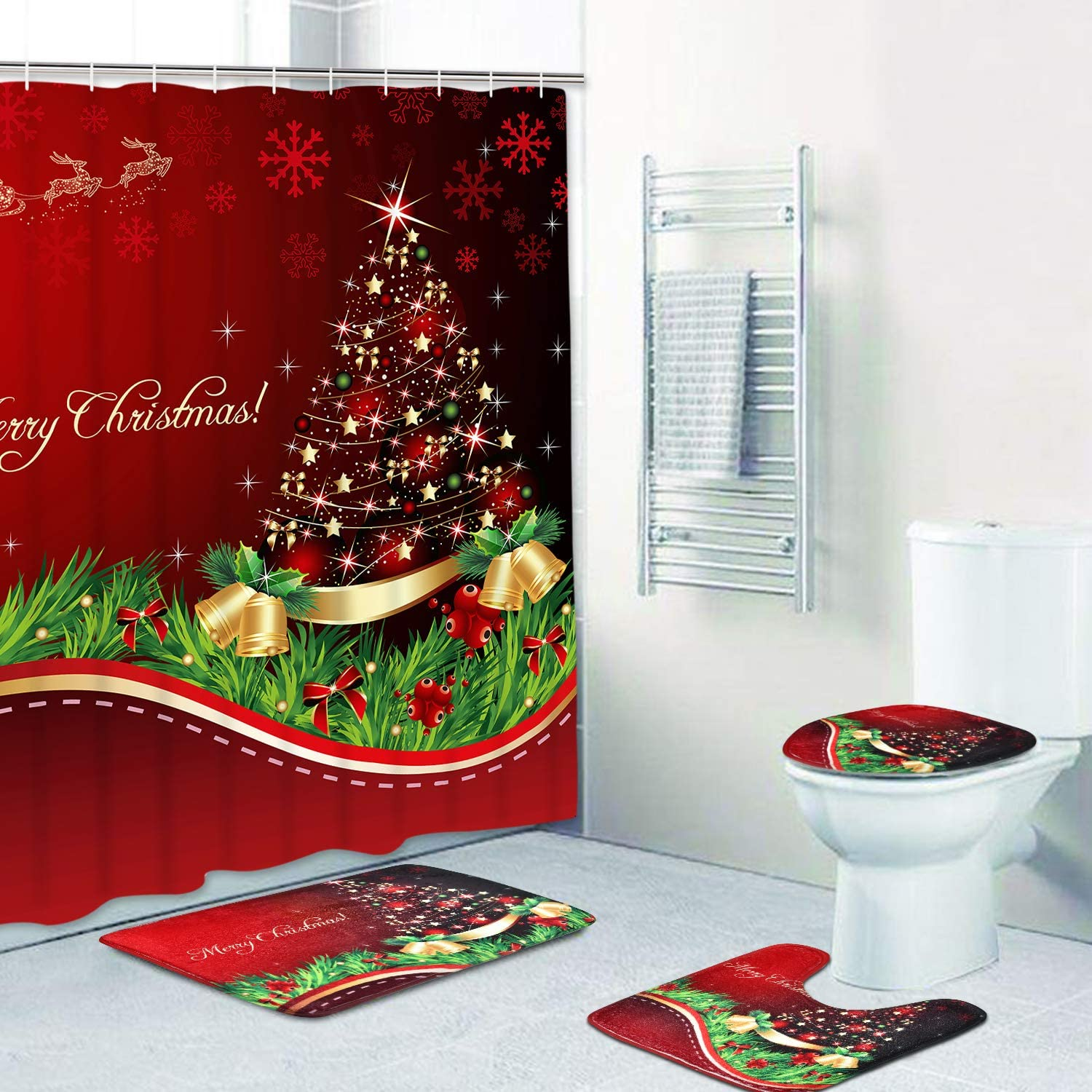 PANDAYAQ 4 Pcs Merry Christmas Shower Curtain Sets with Non-Slip Rugs, Bath Mat, Toilet Lid Cover and 12 Hooks, Xmas Tree Ball Snowflake Red Shower Curtain for Christmas Decoration: Home & Kitchen