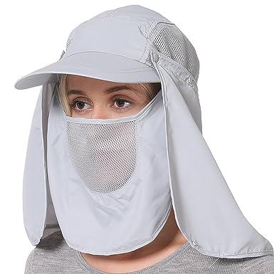 5a67814d2 Jormatt Fashion Man & Women Outdoor Sun Hat Fishing Cap Face Neck Flap  Cover Hats 360° Solar Protection UPF 50+ Sun Cap,Gray: Amazon.in: Clothing  & ...