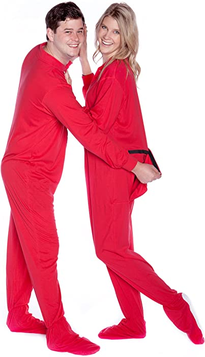 Amazon.com  Red Cotton Jersey Knit Adult Footed Pajamas Onesie w Drop seat   Clothing df5bd3a88