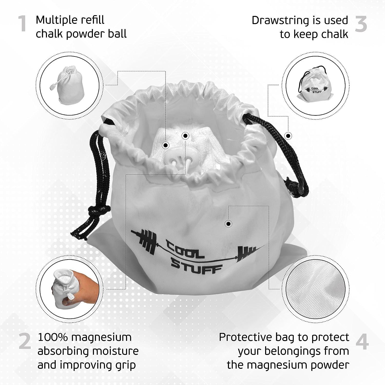 Bola de tiza polvo con bolsa de blanco tiza protectora - Molinillo y bolsa con cierre - 100% carbonato de magnesio - para la Gimnasia, la escalada, ...