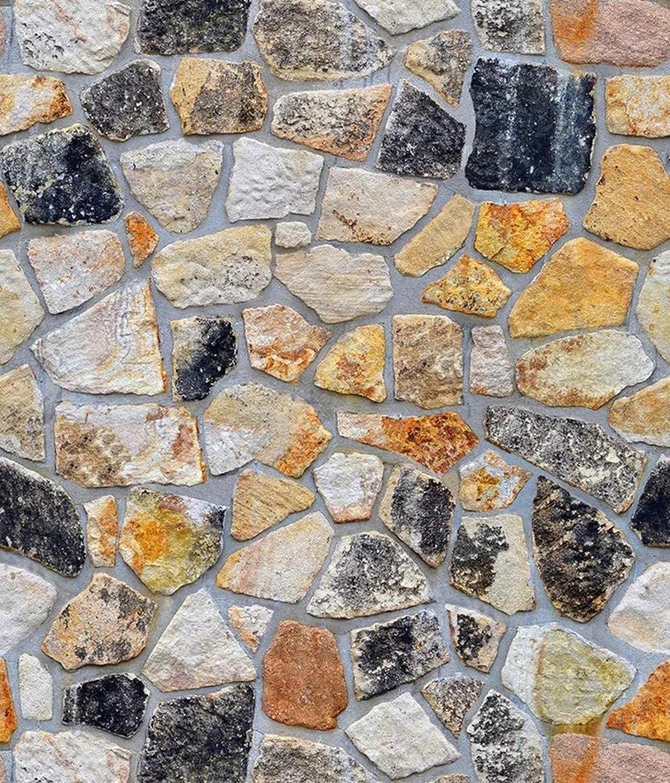 "Yancorp Self-Adhesive Stone Wallpaper Brick Paper Fireplace Kitchen Backsplash Peel-Stick Wall Door Counter Top Liners (18""x394"")"