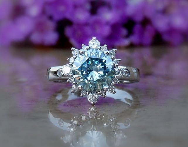Amazon com: Moissanite Engagement Ring, Moissanite Ring